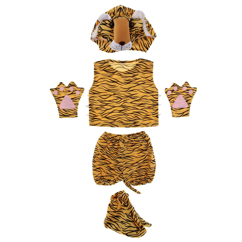 Homyl 5pcs 3D Animal Hat Top Shorts with Tail Set Child Fancy Dress Costume Accessories Boy Girl Book Week Cosplay Party Play Outfit - Tiger