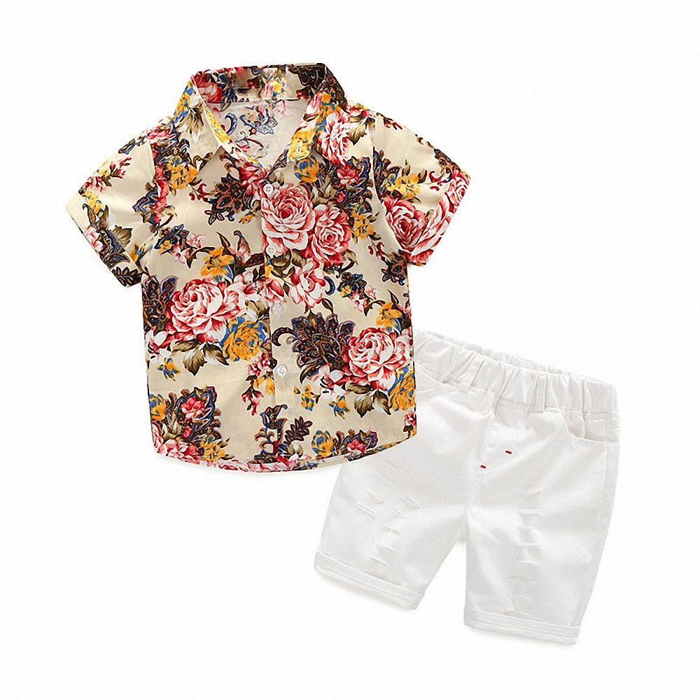 Hawaiian Outfits Toddler Boys Flower Button-Down Shirts and Shorts Clothes Set (Beige, 130(6T)) by MHSH (Image #1)