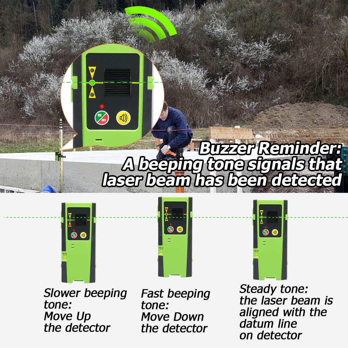 Detector láser para nivel láser de línea, receptor láser digital Huepar LR-6RG usado con láser de línea pulsante de hasta 60m, detección de rayos láser ...