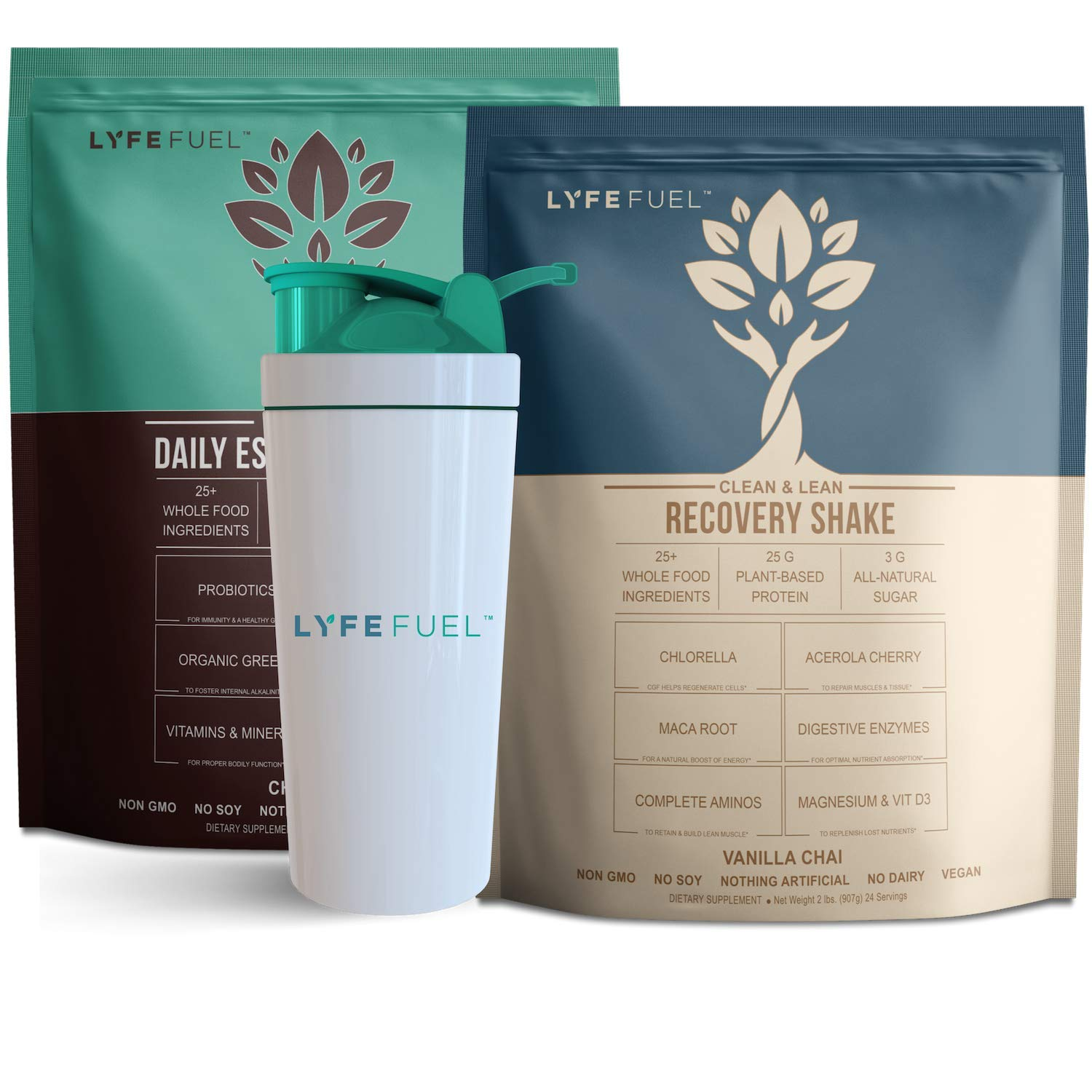 LYFE FUEL Meal Replacement + Post Workout Recovery Shake Bundle | Keto, Vegan & Gluten Free Plant Based Protein | Chocolate + Vanilla | Made with Superfoods + Organic Greens | 48 Servings by Lyfe Fuel (Image #1)