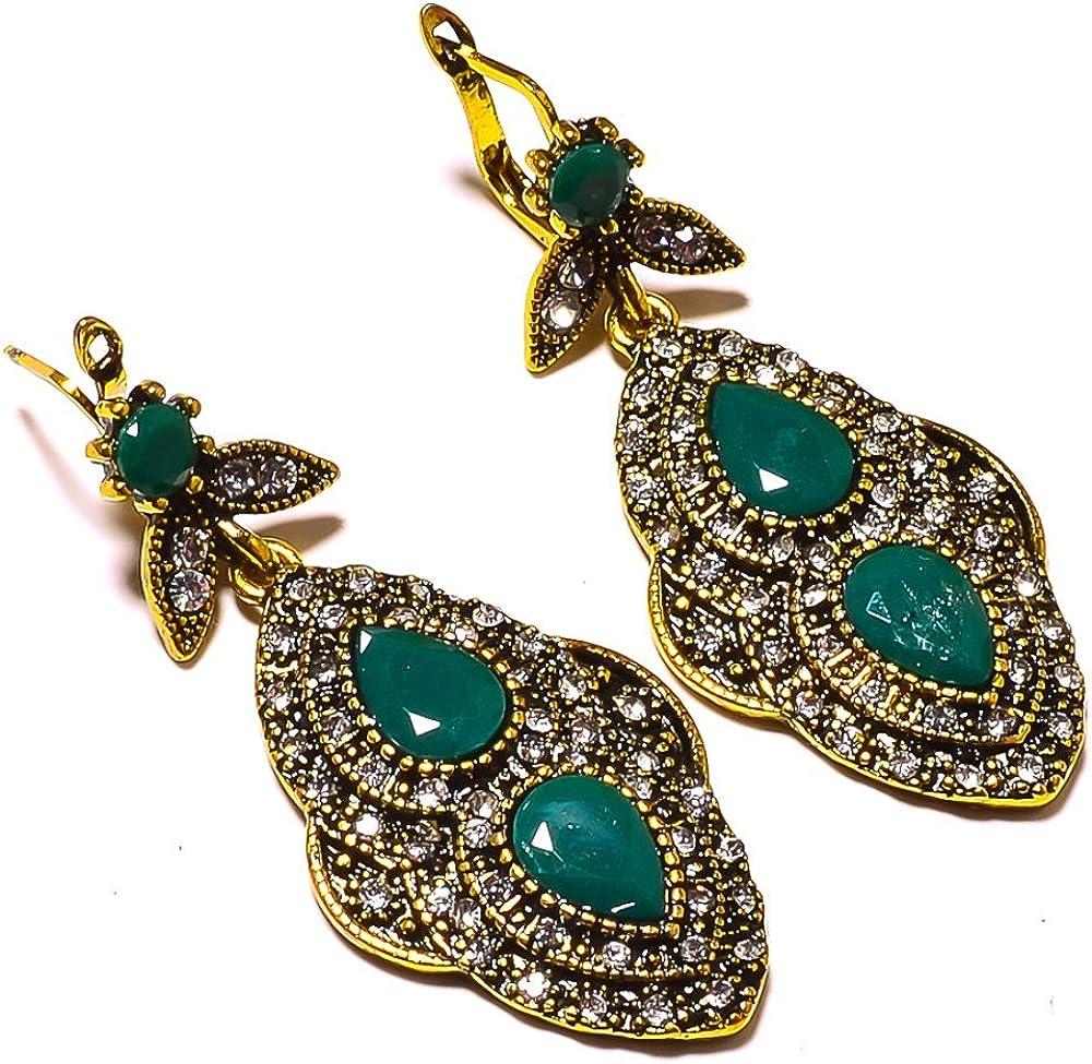 Pretty Handmade Indian Jewelry Blue Plan Beads Brass Metal 30 Grams Jhumka//Earring 2