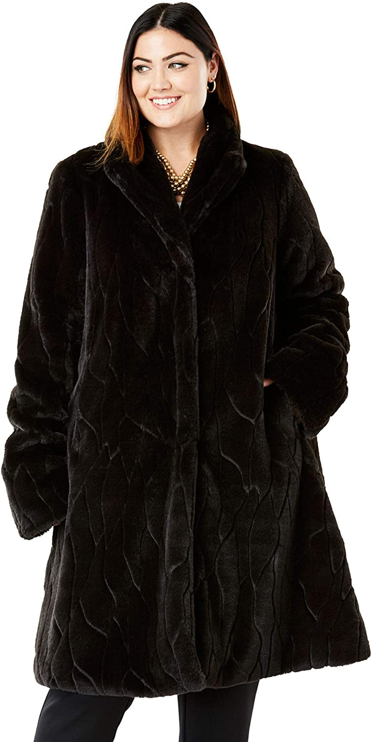 1940s Style Coats and Jackets for Sale Jessica London Womens Plus Size Faux Fur Swing Coat $132.16 AT vintagedancer.com