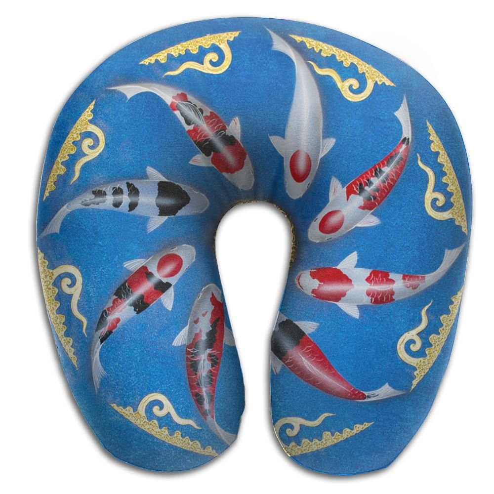 Asian Thai Koi Fish Painting Neck Pillow Comfortable Soft Microfiber Neck-Supportive Travel Pillow Home, Neck Pain