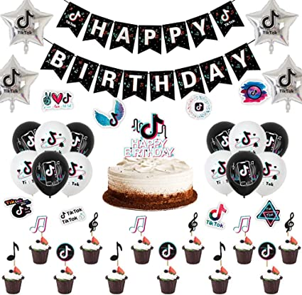Tik Tok Birthday Party Decoration Happy Birthday Banner Tik Tok Note Aluminum Balloon Latex Balloon Cake Toppers Tik Tok Party Decorations