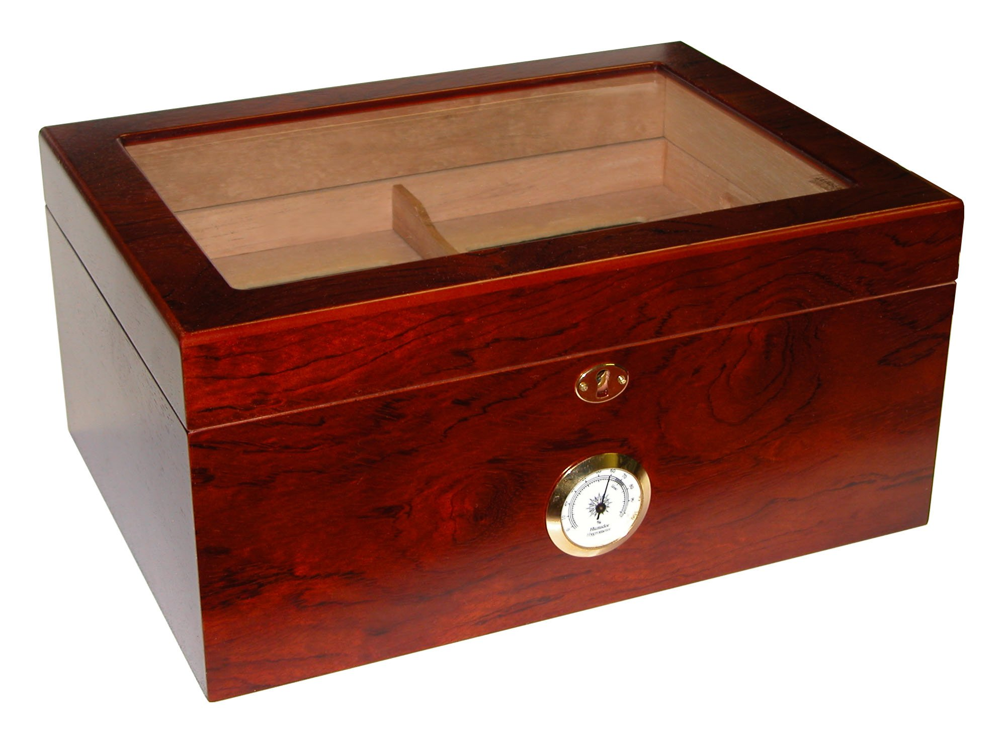 Quality Importers Milano Glasstop Humidor Rosewood, Spanish Cedar Tray With Divider, Holds 75-100 Cigars,
