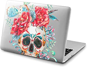 Lex Altern Clear Case for Apple MacBook Air 13 Mac Pro 15 inch Retina 12 11 2020 2019 2018 2017 2016 Sugar Cactus Design Plastic Floral Girl Women Red Flower Roses Blue Protective Print Skull Cover