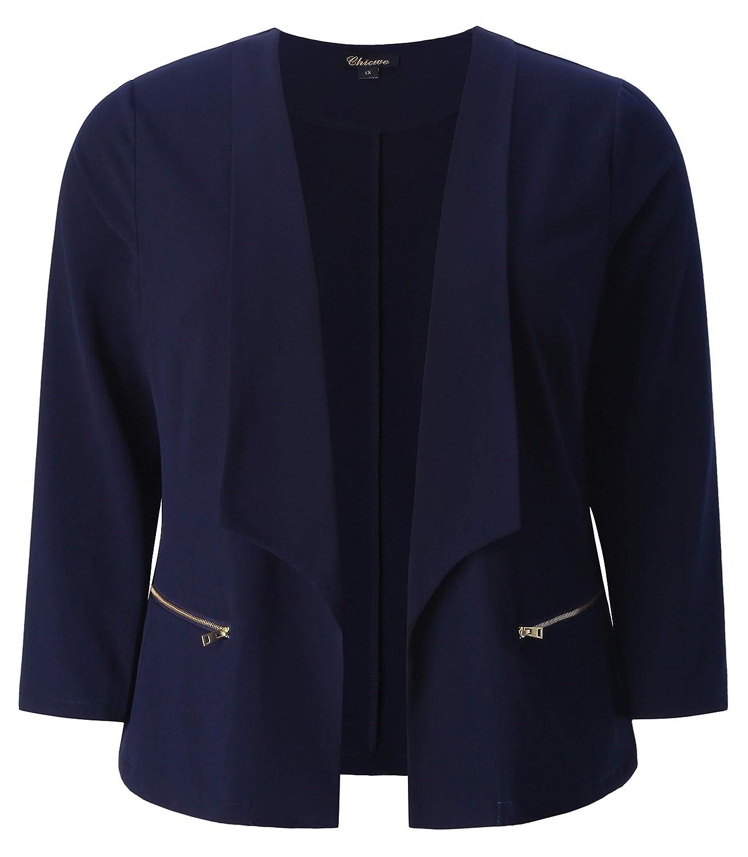 Chicwe Women's Plus Size Stretch Texture Chic Blazer Jacket with Zipper Details C18C446