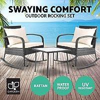Gardeon 3pc Garden Rocking Chair Outdoor Furniture Set Rattan Wicker Table Garden Patio Yard