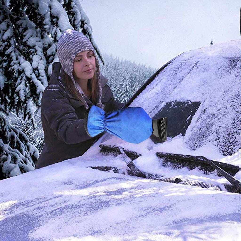 lotus.flower Ice Scraper Mitt Snow Scraper Tool Car Truck Ice Icing Scraper Plastic Blade Mini Glove Kits for Windshield Window Snow (Blue) by lotus.flower (Image #4)
