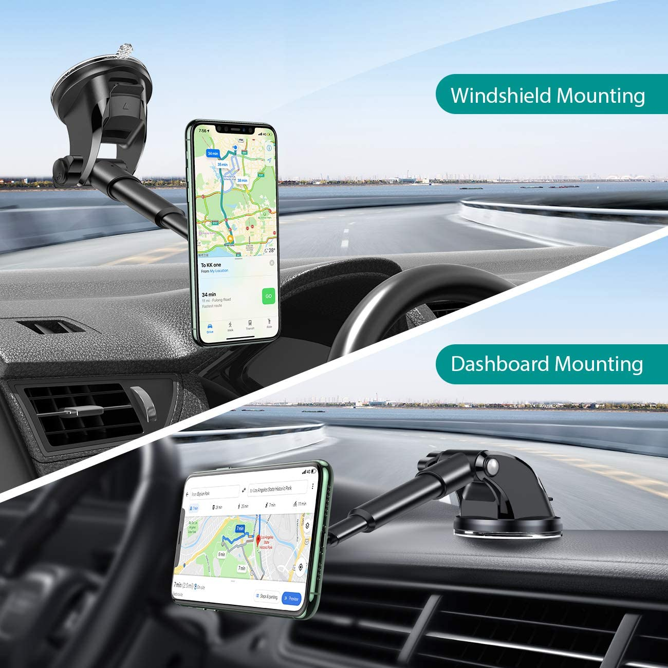enGMOLPHY Designed for iPhone 12// iPhone 11 Suction Cup Car Phone Mount Dashboard//Windshield//Air Vent Car Phone Holder with Extenderable Neck Samsung and More 4~6.5 Smartphones 2020 Latest