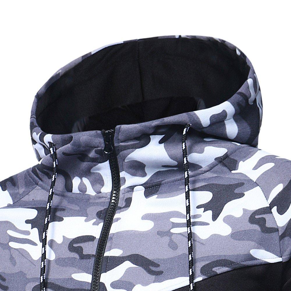Men Camo Hoodie Tracksuit Active Fitness Long Sleeve Zip-up Hoodie Athletic Sports Set