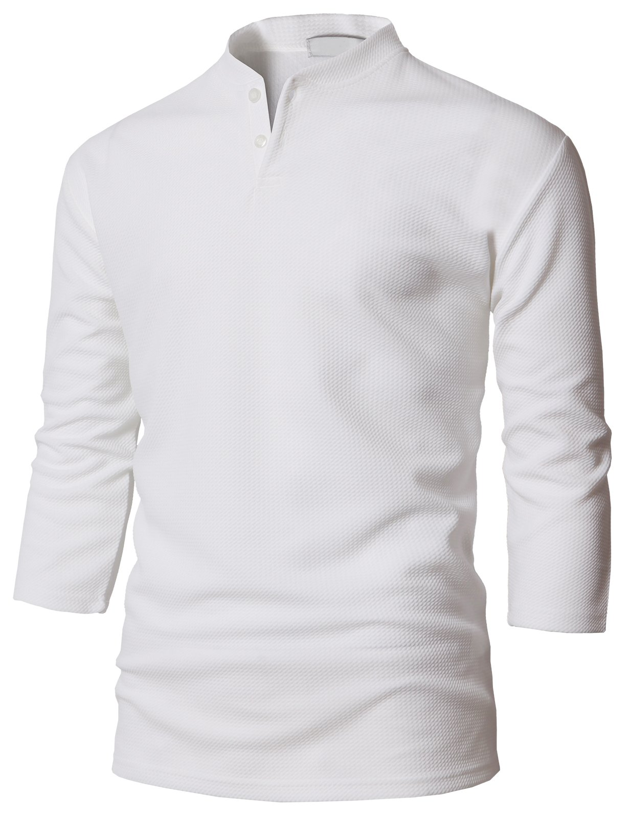 H2H Premium Mens Soft Feel 3/4 Sleeve Henley Shirt White US L/Asia XL (KMTTS0569)