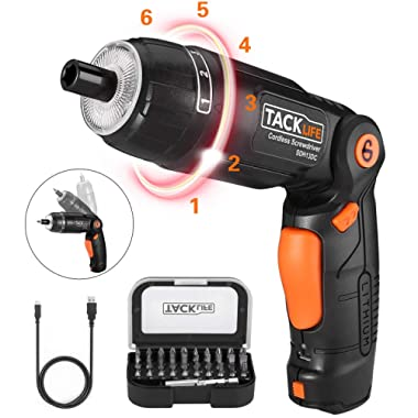 Electric Screwdriver, SDH13DC Cordless Rechargeable Screwdriver 3.6V 2.0Ah Lithium Ion Battery MAX Torque 4N.m, 3 Flexible Position and 6 Torque Setting, Front LED and Rear Flashlight