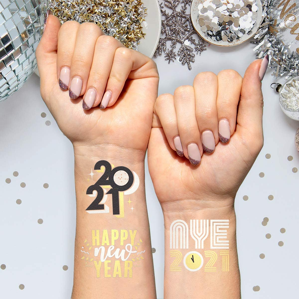 Temporary Tattoos for New Years Eve Party Supplies 3 sheets Kids Tattoos for Christmas Happy New Year Decorations Party Supplies Favors