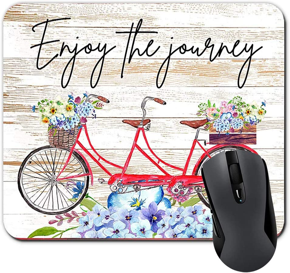 Enjoy The Journey Inspirational Quote Mouse Pad Watercolor Floral On Faux Wood Mousepad Desk Accessories for Women Office Supplies