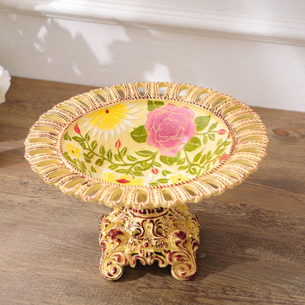 Bwlzsp 1 PCS Pure hand painted resin handicraft fruit plate pendant American country large dry fruit plate candy plate LU705148