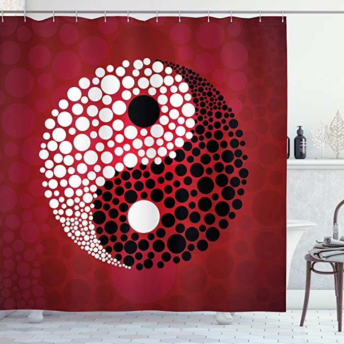 Ambesonne Ying Yang Shower Curtain Abstract Graphic Design Yin Yang Circle Black And White Dots Pattern Cosmos And Energy Cloth Fabric Bathroom Decor Set With Hooks 75 Long Burgundy Home Kitchen Amazon Com