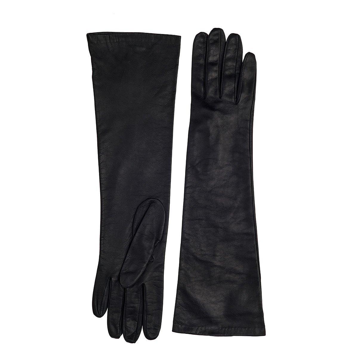 Silk Lined Long Black or White Leather Gloves (BLACK - LARGE)
