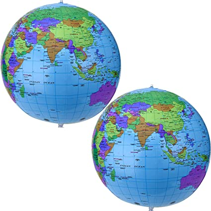 "Clear Transparent Education School Ball 16/"" Inch Inflatable World Globe Map"