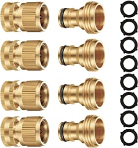 Riemex Garden Hose Quick Connector Set Solid Brass 3/4 inch GHT Water Fitings Thread Easy Connect No-Leak Male Female Value (4, Internal Thread Quick Connector) IQC-4