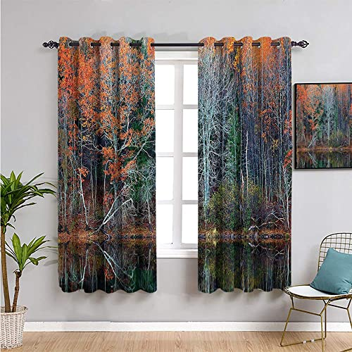 Leaves Decor Living Room Blackout Curtains