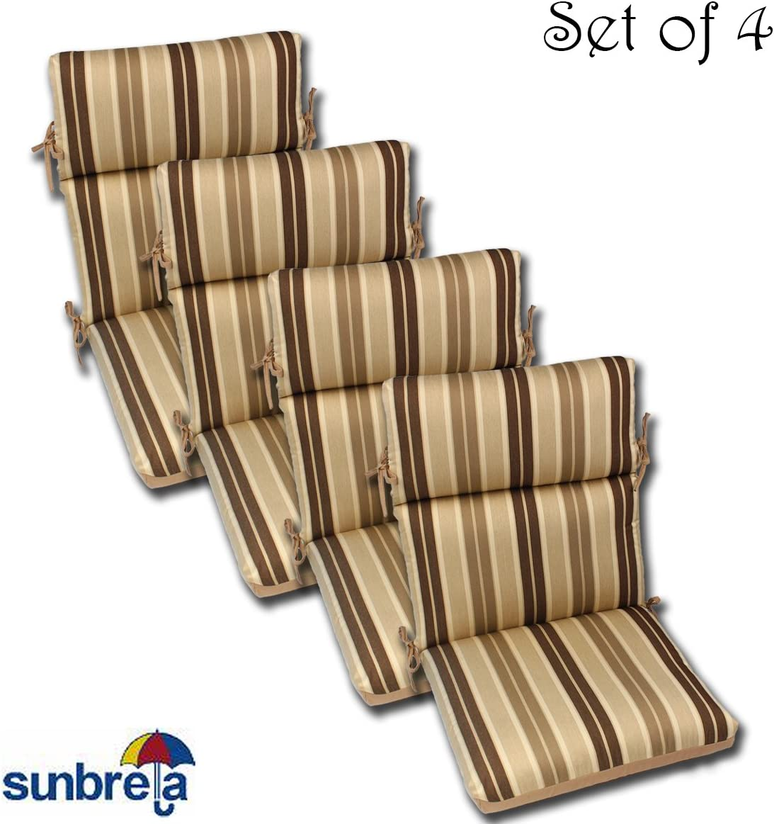 Comfort Classics Inc. Set of 4 22x44x5 Acrylic Outdoor CHANNELED Reversible Chair Cushions