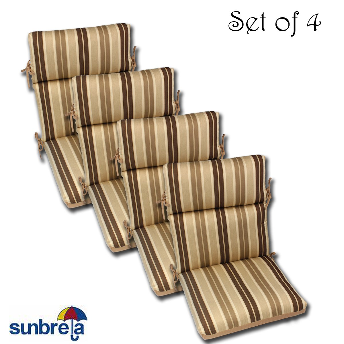 Set of 4 22x44x5 Acrylic Outdoor CHANNELED Reversible Chair Cushions by Comfort Classics Inc.