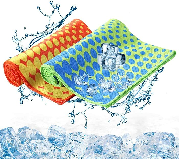 KUYOU Sport Cooling Towel 2 Pack Stay Cool Ice Water Chilly Towels for Sports Swimming Women Men Camping Yoga Workout Fitness Gym Neck Golf 40 x 12 Inch (Blue Green + Orange Yellow)