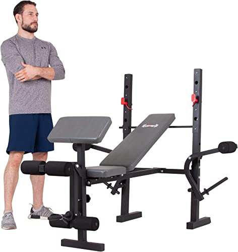 Body Champ Standard Weight Bench with Butterfly and Preacher Curl, Incline Flat Adjustable BCB580