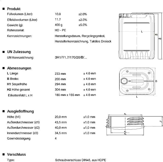 15 x 10 L Kanister natur Camping Plastekanister Wasserkanister Trinkwasser DIN51