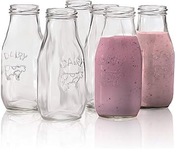 Circleware Country - Juego de 6 botellas de leche de cristal, diseño de lácteos: Amazon.es: Hogar