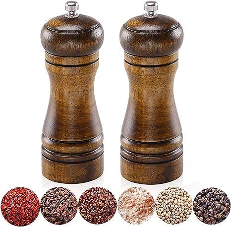 Natural Oak Wooden Seasoning Manual Salt Pepper Spice Herb Kitchen Mill Grinder