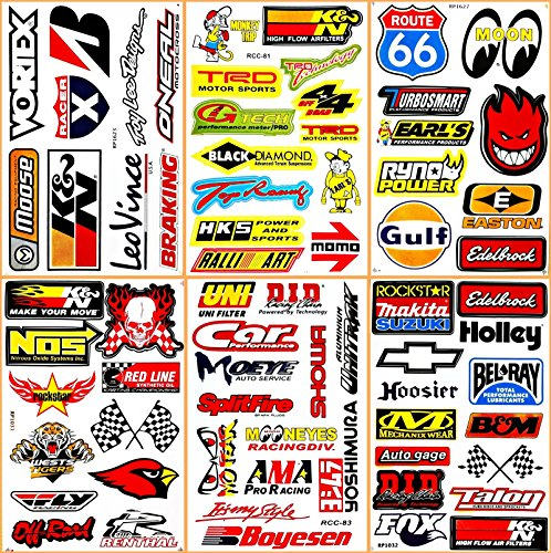 Cars Motorsport Nos Gulf Hot Rod Nascar Drag Racing Lot 6 Vinyl Graphic Decals Stickers ()