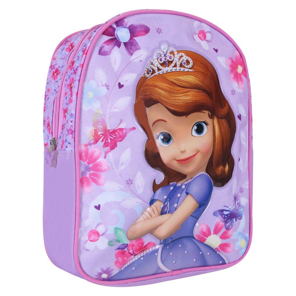 Petit Sac à Dos Enfants Princesse Sofia - Sac d'école Fille pour Le Jardin d'enfants - Cartable Scolaire avec bandoulières réglables - Violet - 31x24x10 cm - Perletti 13508