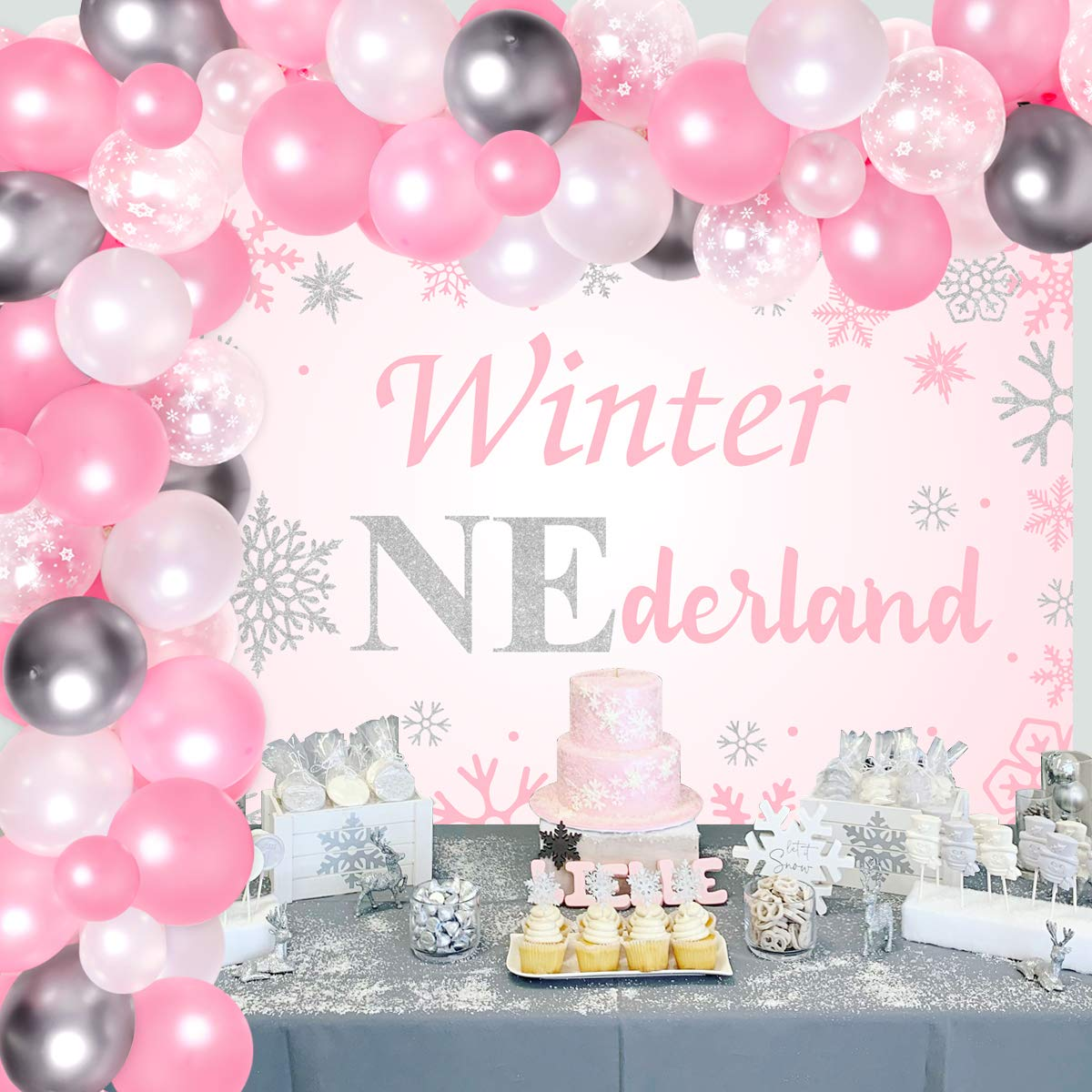 Winter Onederland Birthday Decorations for Girl Backdrop, Snowflake Balloon Garland Kit for Wonderland 1st Birthday Party Supplies Pink Silver and White 79 Pcs