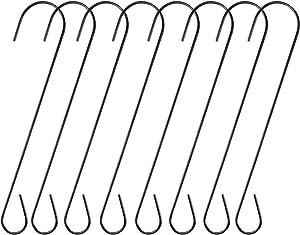 Ripeng 8 Pieces Metal Tree Branch Hook, Bird Feeder Garden S Hook, 12 Inches Black Rustproof Steel Hooks for Hanging, Bird House, Plants, Baskets, Lanterns and Bicycles, Outdoor or Indoor Use