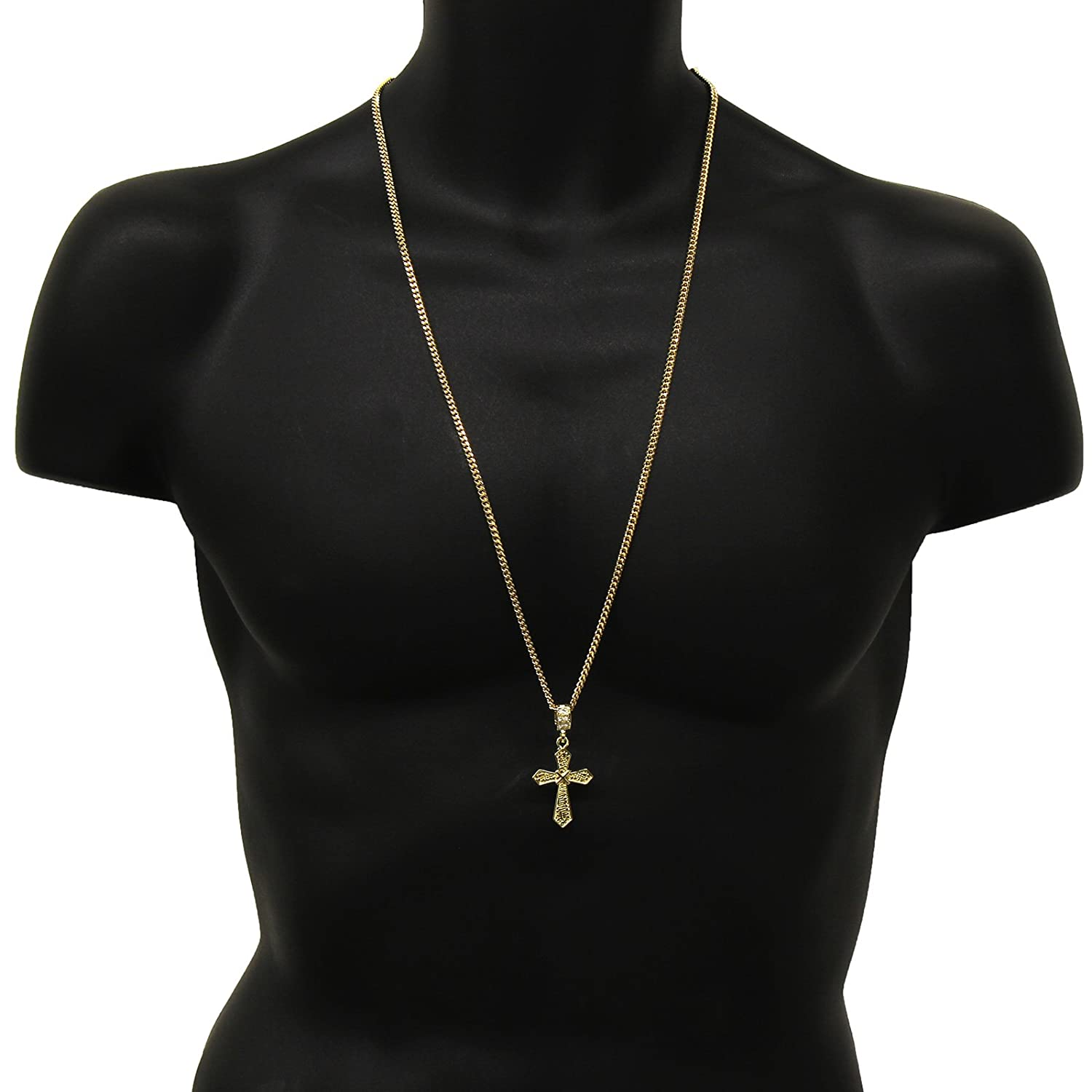 Gold Tone X in the Middle Cross Pendant Hip-hop 3mm 30 Cuban Necklaces Chain
