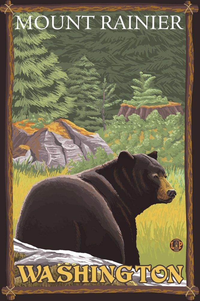 ブラックBear in Forest – Mount Rainier、ワシントン 36 x 54 Giclee Print LANT-14412-36x54 B017E9Y2RQ  36 x 54 Giclee Print