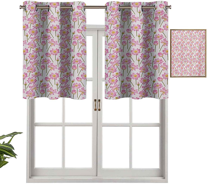 Hiiiman Cenefas de cortina para ventana de habitación, flores de purificación del alma, remedio homeopático, juego de 2, cenefas de 106,7 x 60,9 cm para ventana de cocina con ojales.
