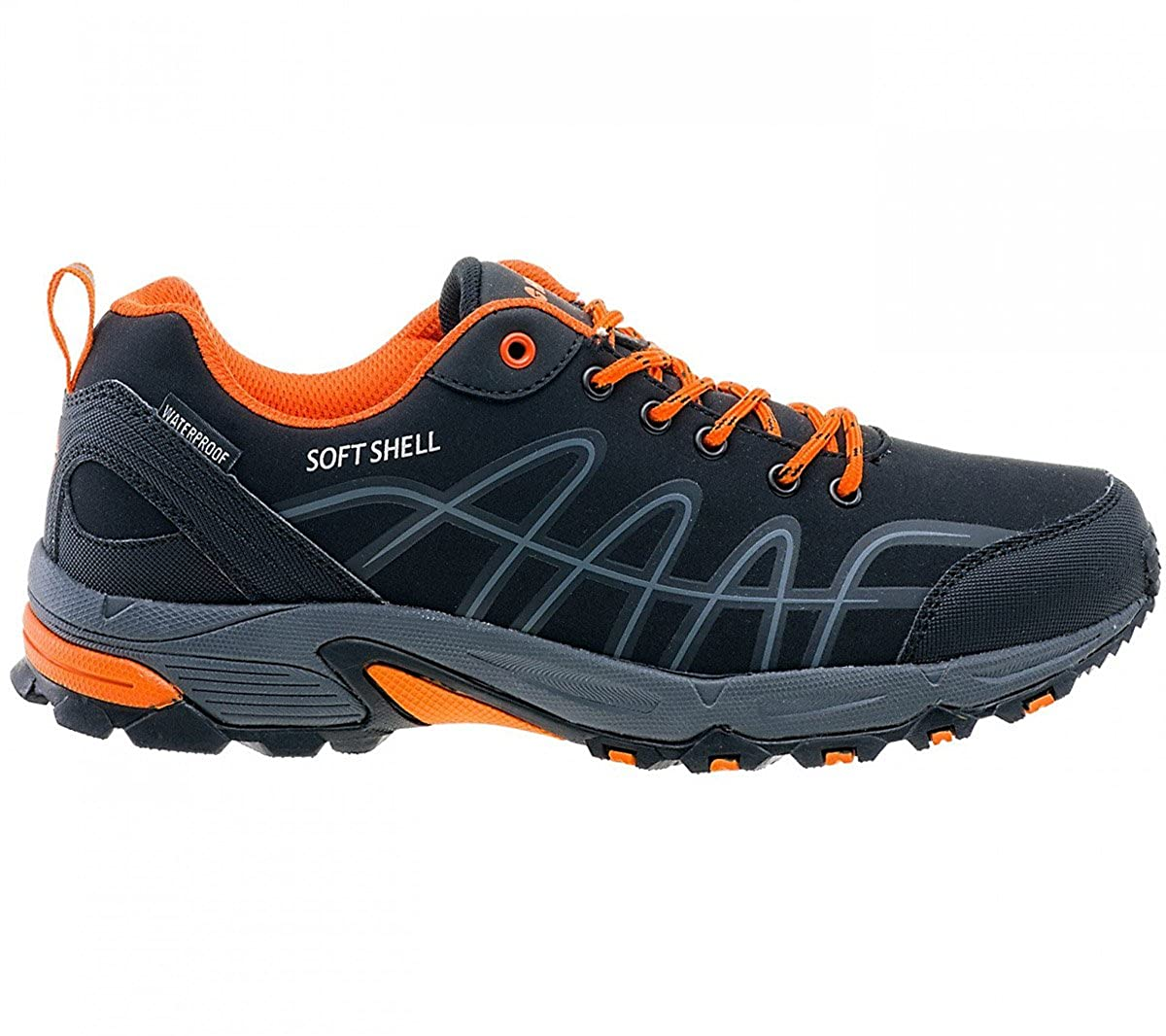 Hi-Tec Pamio Low WP Herren Outdoor Wanderschuhe Schuhe Schwarz-Orange Trekking Trail Waterproof Wasserdicht