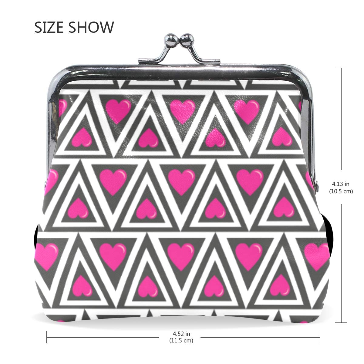 Fashion Womens Coin Purse Geometric Triangles Hearts Vintage Pouch Mini Purse Wallets