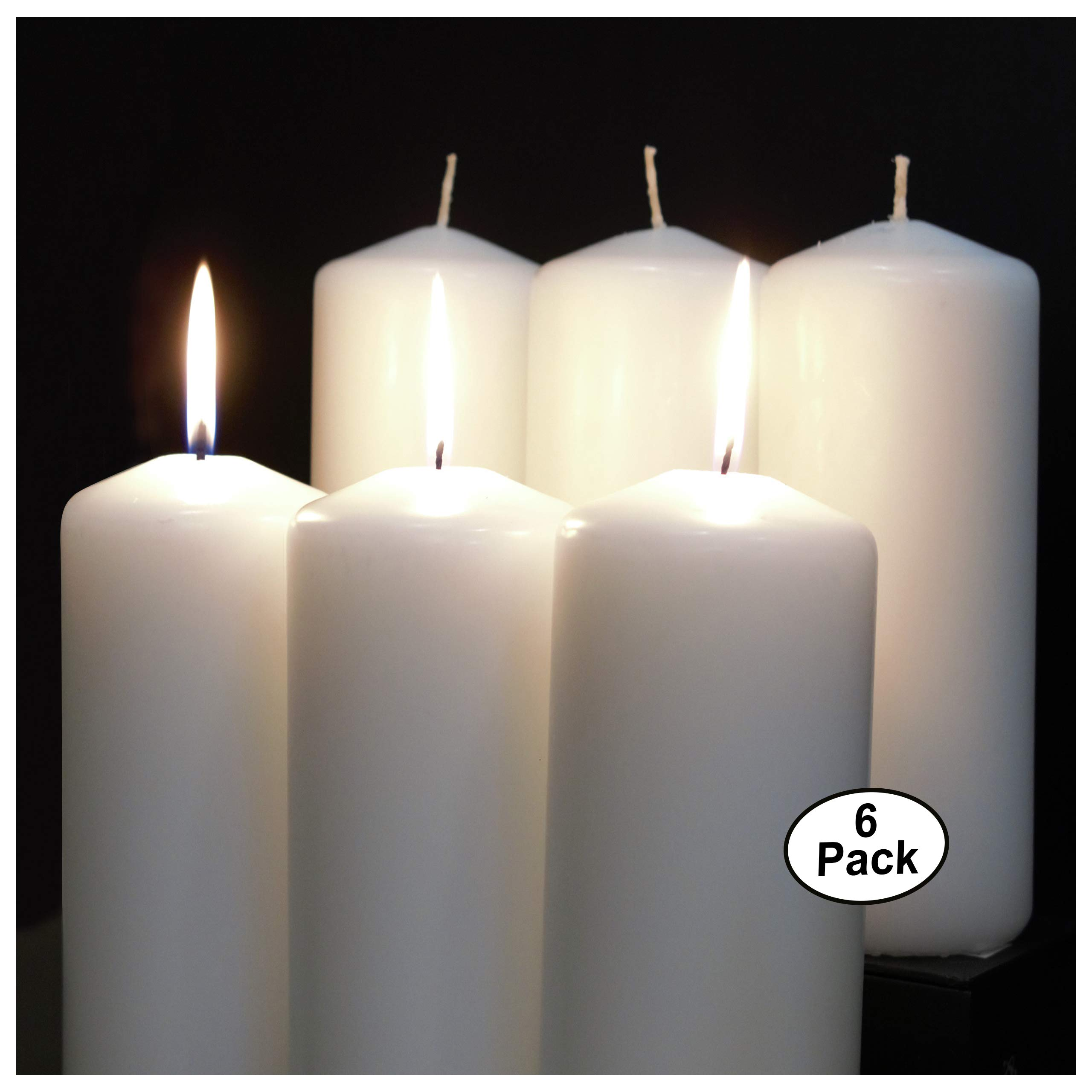 CandleNScent White Pillar Candles - 3'' x 6'' Set of 6 Unscented Cotton Wick Made in USA