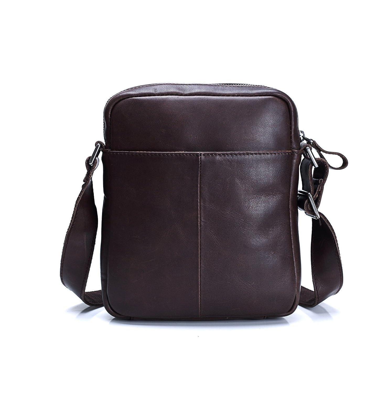 Lrsny axelväska av läder, herrryggsäck, ryggsäck, Mörkbrun