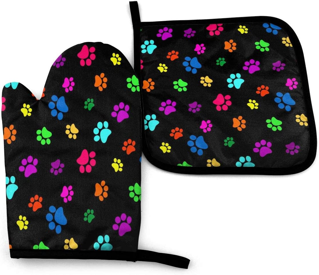 Foruidea Colorful Dog Cat Paw Print Oven Mitts and Pot Holders Sets Kitchen Heat Resistant Oven Gloves for BBQ Cooking Baking Grilling Machine Washable (2-Piece Sets)