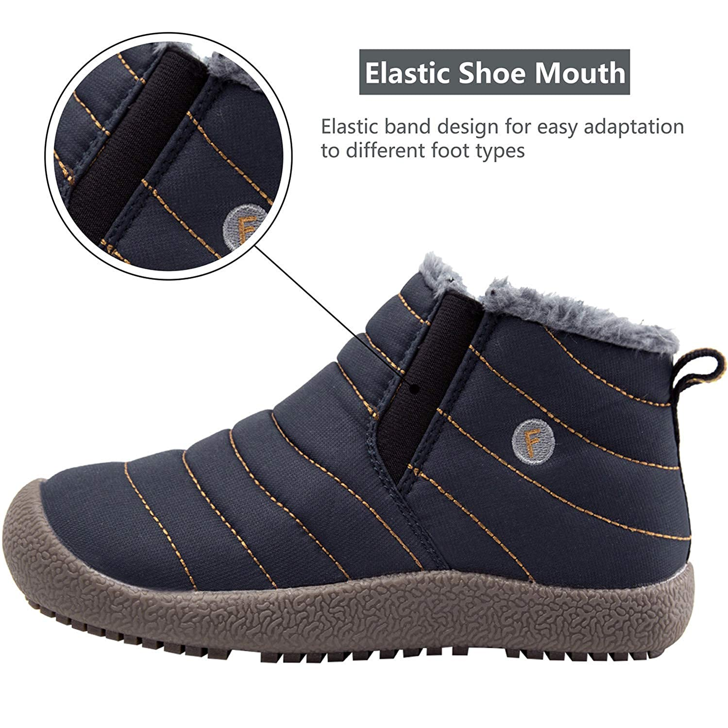 JINKUNL Kids Winter Warm Snow Boots Outdoor Fur Lined Lightweight Ankle Booties Sneakers Shoes for Girls Boys