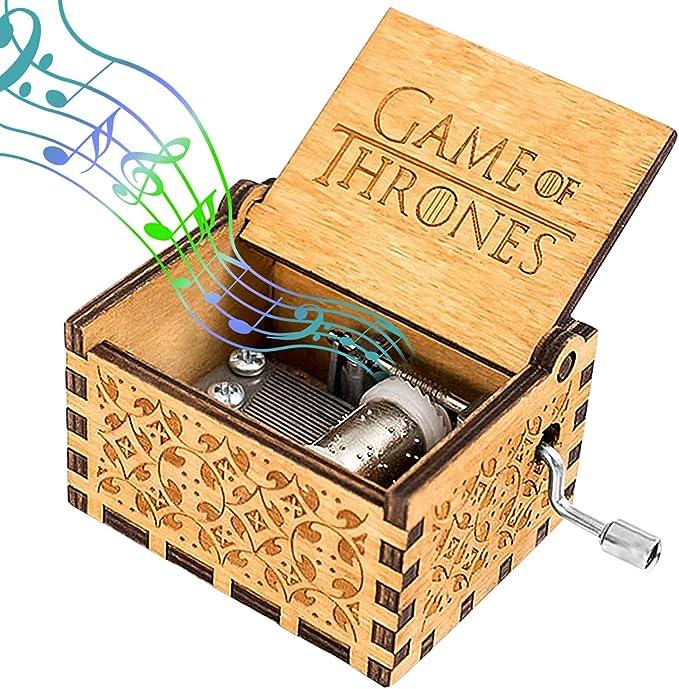 G//N Carillon in Legno Game of Thrones Scatole Musicali incise a manovella Vintage per Bambini Regali di Compleanno di Natale Ornamento per la casa