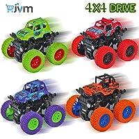 JVM 4WD Mini Monster Trucks Friction Powered Unbreakable Cars for Kids Big Rubber Tires Baby Boys Super Cars Blaze Truck Children Gift Toys (Set of 4)