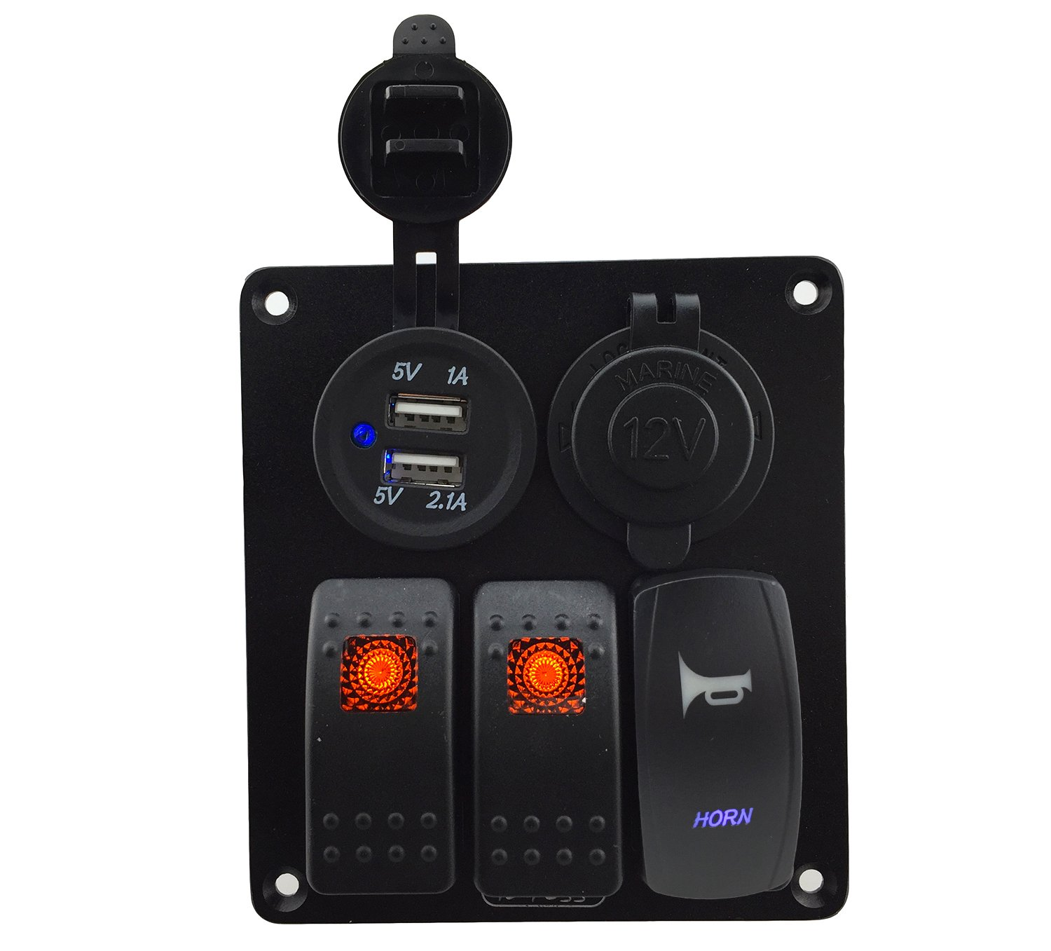 IZTOSS 3 gang rocker switch and horn switch panel with power socket 3.1A dual USB wiring kits and Decal Sticker Labels DC12V/24V for Marine Boat Car Rv Vehicles Truck orange led by IZTOSS