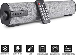 BOKEYU Portable Sound Bar for TV Computer Wired & Wireless Bluetooth Speakers Mini Home Theater Surround Soundbar with Built-in Subwoofers Remote Control for Smartphone Tablet PC Desktop Projector