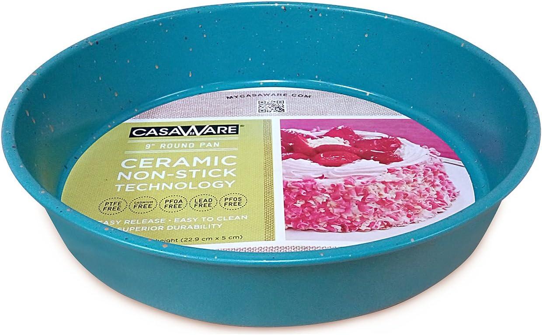casaWare Ceramic Coated NonStick 9-Inch Round Pan, Blue Granite